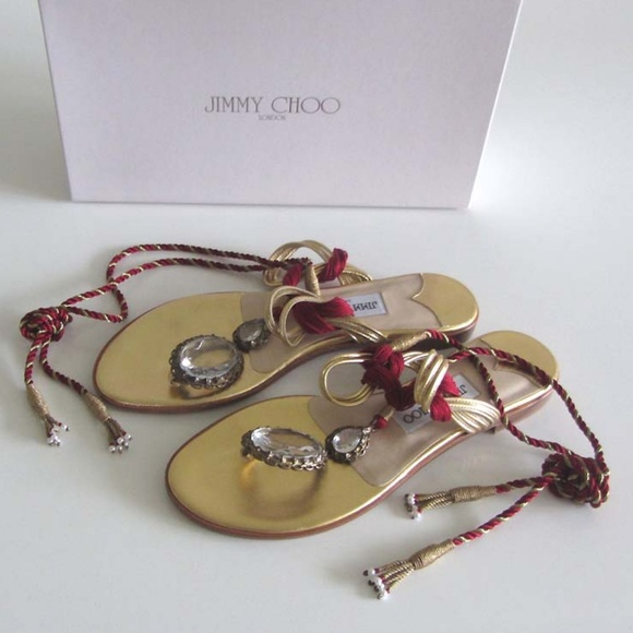 1c9c7a5b2e05 Jimmy Choo Egyptian Gold crystals thong sandals 37